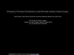 Emergency Pulmonary Embolectomy Using Minimally Invasive Cardiac Surgery