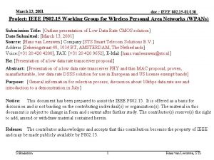 March 13 2001 doc IEEE 802 15 01130