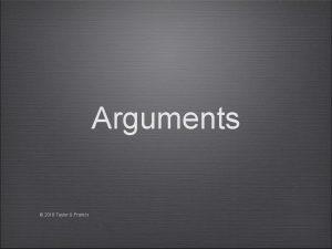 Arguments 2018 Taylor Francis Argument Set of statementssentencespropositions