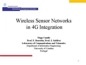 Wireless Sensor Networks in 4 G Integration Tiago