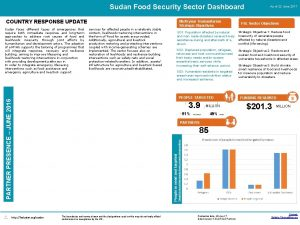 Sudan Food Security Sector Dashboard COUNTRY RESPONSE UPDATE