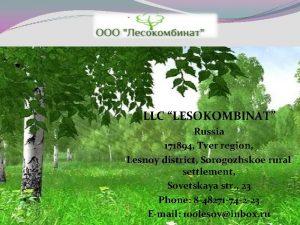 LLC LESOKOMBINAT Russia 171894 Tver region Lesnoy district