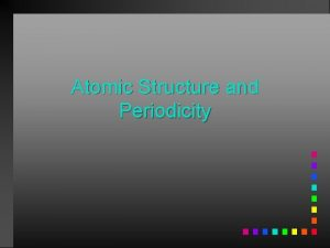 Atomic Structure and Periodicity Atoms Protons Neutrons Electrons