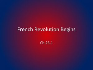 French Revolution Begins Ch 23 1 The Old