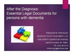 After the Diagnosis Essential Legal Documents for persons