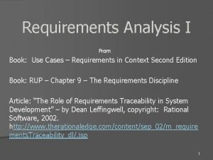 Requirements Analysis I From Book Use Cases Requirements