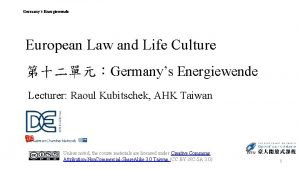 Germanys Energiewende European Law and Life Culture Germanys