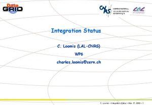 Integration Status C Loomis LALCNRS WP 6 charles