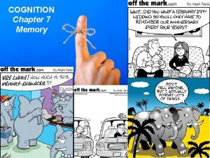 COGNITION Chapter 7 Memory Cognition The mental processes