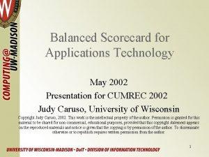 Balanced Scorecard for Applications Technology May 2002 Presentation