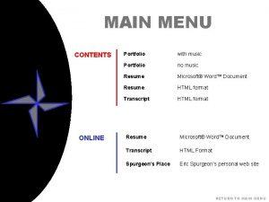 MAIN MENU CONTENTS ONLINE Portfolio with music Portfolio