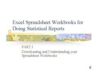 Excel Spreadsheet Workbooks for Doing Statistical Reports PART