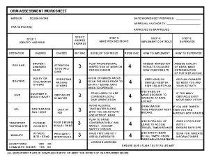 ORM ASSESSMENT WORKSHEET MISSION SCUBA DIVING DATE WORKSHEET