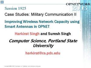 Session 1925 Case Studies Military Communication II Improving