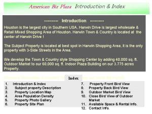 American Biz Plaza Introduction Index Introduction Houston is