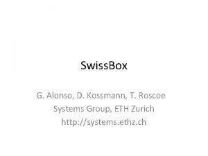 Swiss Box G Alonso D Kossmann T Roscoe