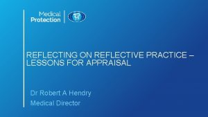 REFLECTING ON REFLECTIVE PRACTICE LESSONS FOR APPRAISAL Dr