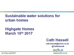 Sustainable water solutions for urban homes Highgate Homes