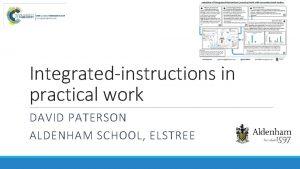 Integratedinstructions in practical work DAVID PATERSON ALDENHAM SCHOOL