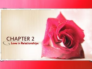 CHAPTER 2 Love in Relationships What is love