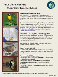 Your Joint Venture Conserving birds and their habitats