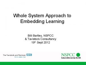 Whole System Approach to Embedding Learning Billi Bartley