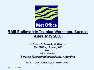 RAIII Radiosonde Training Workshop Buenos Aires May 2006