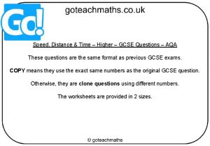 Speed Distance Time Higher GCSE Questions AQA These