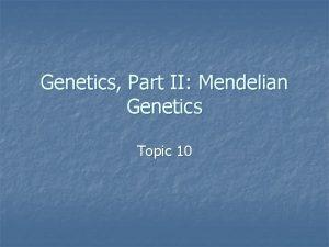Genetics Part II Mendelian Genetics Topic 10 n