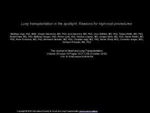 Lung transplantation in the spotlight Reasons for highcost