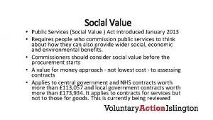 Social Value Public Services Social Value Act introduced