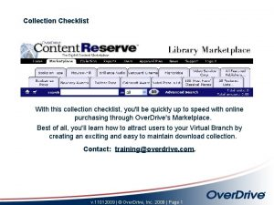 Collection Checklist With this collection checklist youll be