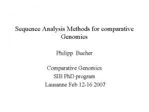 Sequence Analysis Methods for comparative Genomics Philipp Bucher