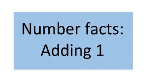 Number facts Adding 1 Representation and Structure Adding