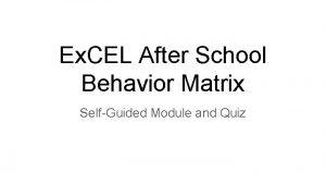 Ex CEL After School Behavior Matrix SelfGuided Module