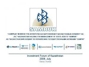 Establishment of the Holding JointStock Company Kazakhstan Holding