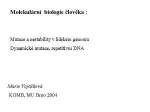 Molekulrn biologie lovka Mutace a nestability v lidskm
