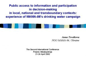 Public access to information and participation in decisionmaking