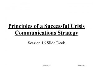 Principles of a Successful Crisis Communications Strategy Session