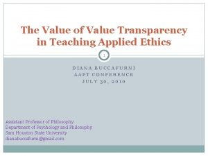 The Value of Value Transparency in Teaching Applied