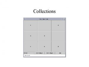 Collections The Plan Why use collections What collections