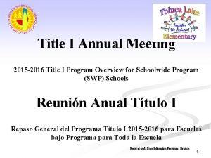 Title I Annual Meeting 2015 2016 Title I