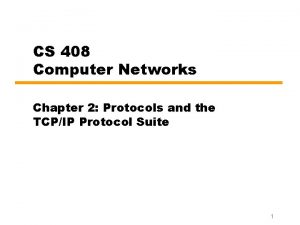 CS 408 Computer Networks Chapter 2 Protocols and