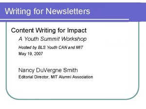 Writing for Newsletters Content Writing for Impact A