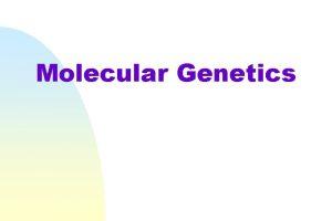 Molecular Genetics Molecular biology is the branch of