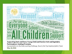 Supporting Each and Every Young Child and Familys