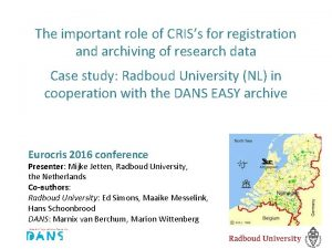 The important role of CRISs for registration and