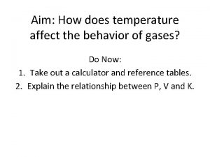 Aim How does temperature affect the behavior of