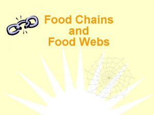 Food Chains and Food Webs What is a