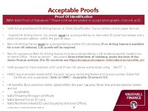 Acceptable Proofs Proof Of Identification With Valid Proof